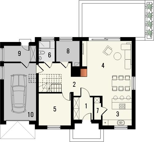 Projekt domu Miętus - rzut parteru