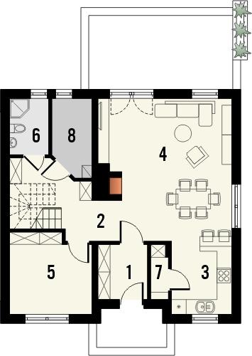 Projekt domu Kolia 3 - rzut parteru