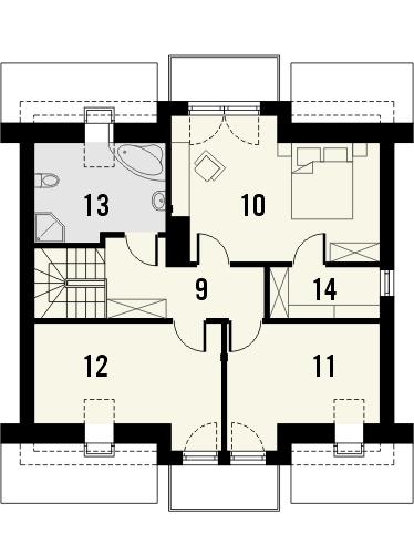 Projekt domu Kolia 3 - rzut poddasza
