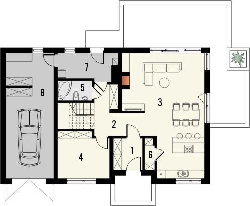 Projekt domu Fikus - rzut parteru