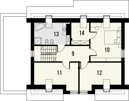 Projekt domu Fikus - rzut poddasza
