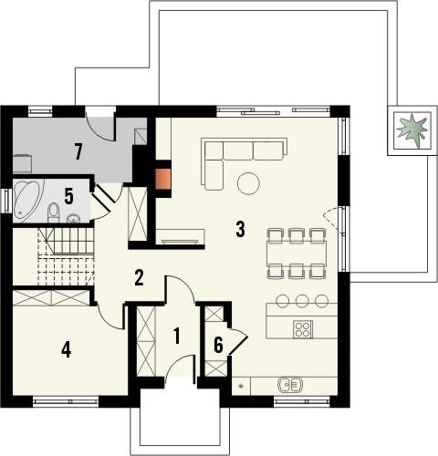 Projekt domu Fikus 2 - rzut parteru