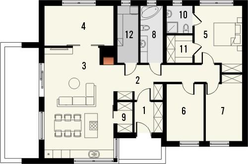 Projekt domu Trendsetter - rzut parteru
