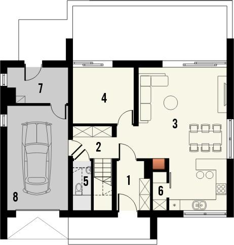 Projekt domu Rewers - rzut parteru