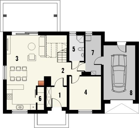 Projekt domu Toffi - rzut parteru