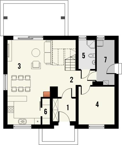 Projekt domu Toffi 2 - rzut parteru