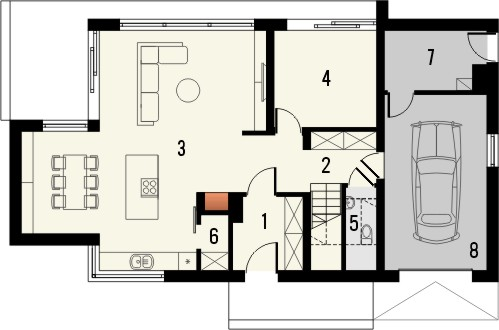 Projekt domu Vital - rzut parteru