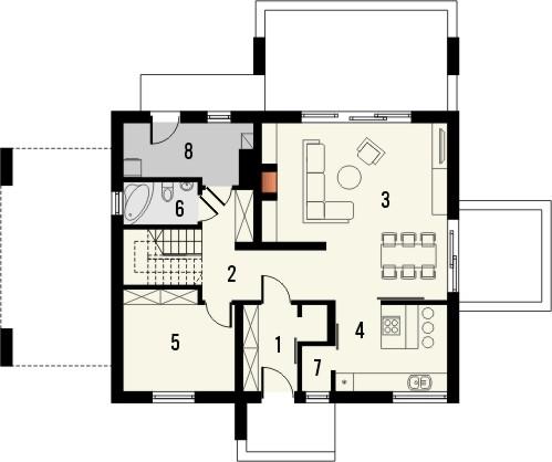 Projekt domu Melba - rzut parteru