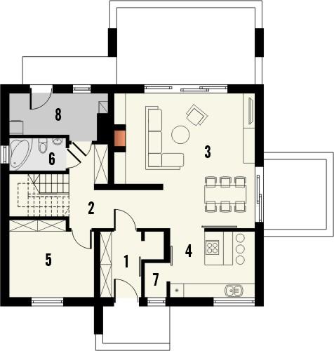 Projekt domu Melba 2 - rzut parteru