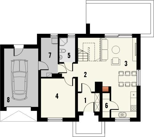Projekt domu Melonik - rzut parteru