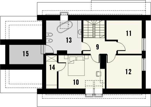 Projekt domu Melonik - rzut poddasza