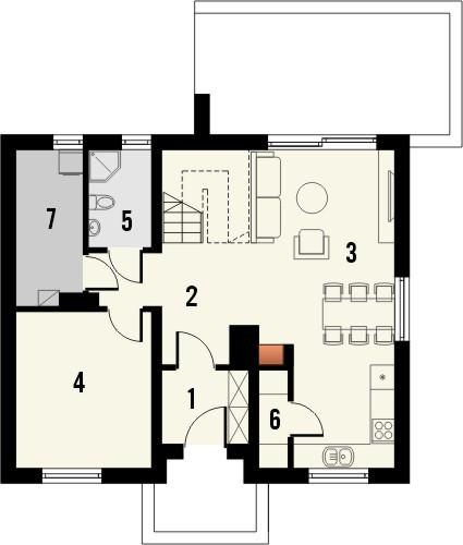 Projekt domu Melonik 2 - rzut parteru