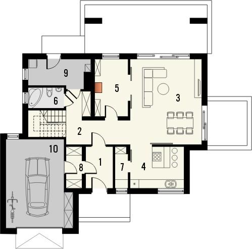 Projekt domu Etiuda - rzut parteru