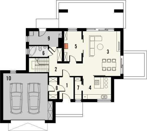 Projekt domu Etiuda 2g - rzut parteru