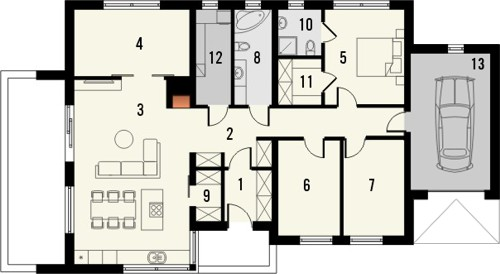 Projekt domu Trendsetter 2 - rzut parteru