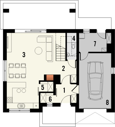 Projekt domu Primo - rzut parteru