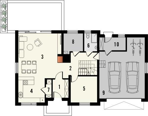 Projekt domu Format 2G - rzut parteru