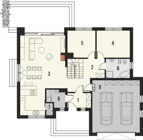 Projekt domu Monogram - rzut parteru