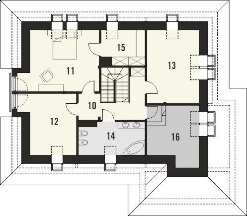 Projekt domu Monogram - rzut poddasza
