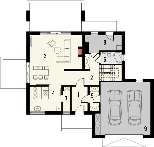 Projekt domu Sonata - rzut parteru
