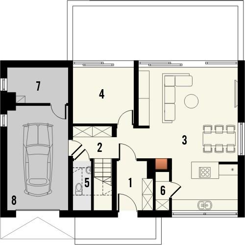 Projekt domu Studio 71 - rzut parteru