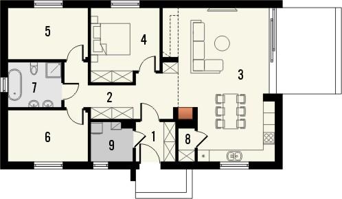 Projekt domu Studio 36 - rzut parteru