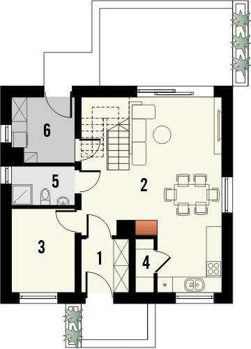 Projekt domu Bodo - rzut parteru