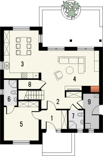 Projekt domu Epoka 2 - rzut parteru