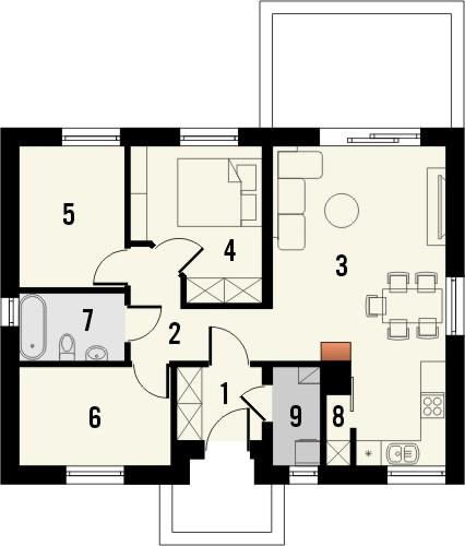 Projekt domu Fiori - rzut parteru