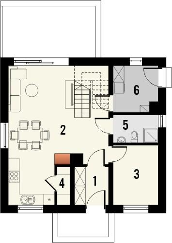 Projekt domu Kalinówka - rzut parteru