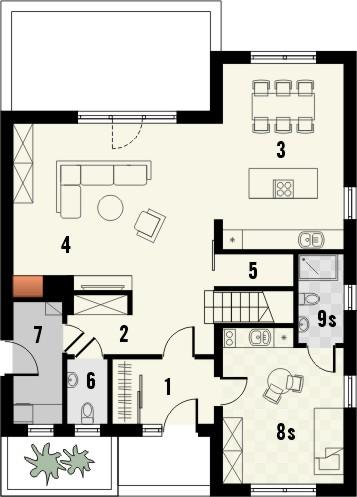 Projekt domu Lupus - rzut parteru