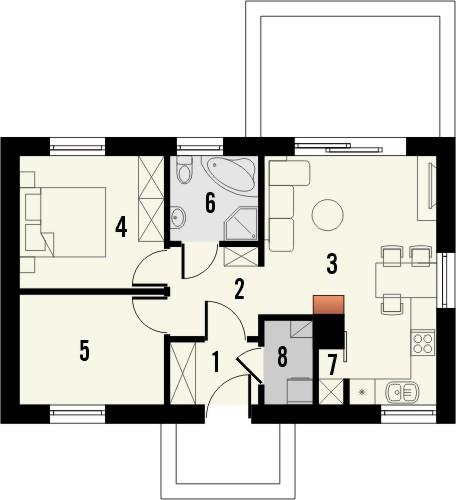 Projekt domu Miętówka - rzut parteru