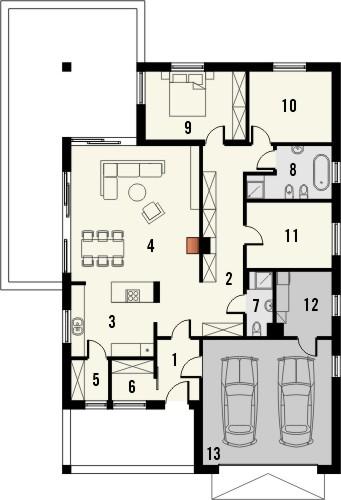 Projekt domu Portofino - rzut parteru