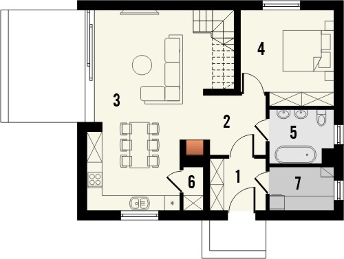Projekt domu Studio 42 - rzut parteru
