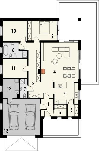 Projekt domu Studio 49 - rzut parteru