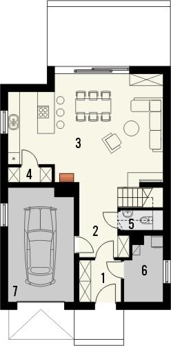 Projekt domu Studio 63 - rzut parteru