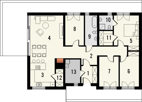 Projekt domu Studio 68 - rzut parteru
