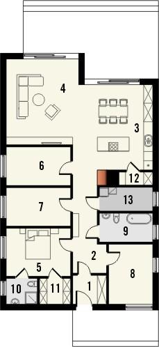 Projekt domu Studio 89 - rzut parteru