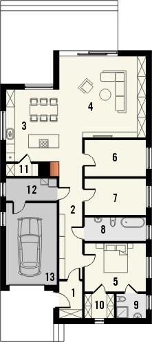 Projekt domu Studio 95 - rzut parteru