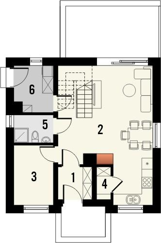 Projekt domu Werbena - rzut parteru